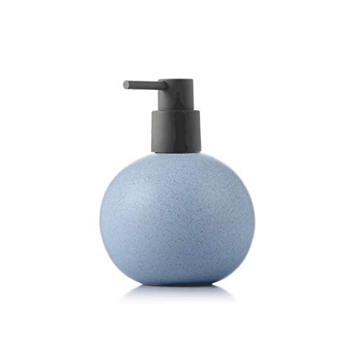ZANZAN Dispensador de jabón de cerámica esférica, dispensador de jabón grande, bomba de jabón de 520 ml/18 onzas, dispensador de ducha para el hotel Home-7 colores (color: azul)