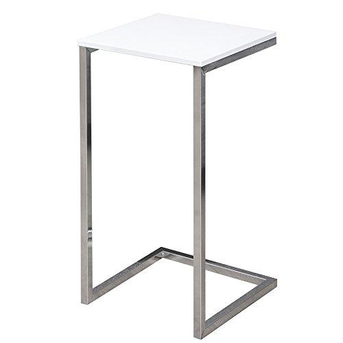 Invicta Interior Moderner Design Beistelltisch Simply CLEVER 60cm weiß Chrom Sofatisch Ablagetisch Wohnzimmertisch Tisch