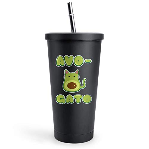 Avocado Cat Avocado Lover the Avocado Baby Office Black Double Wall Stainless Steel Cups Of with Lids and Straws Vacuum Insulated Tumbler Best Friend Gift Travel Mug