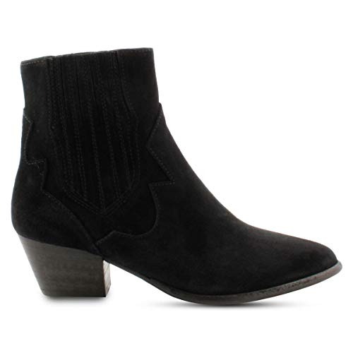 Exclusiv Paris – Stiefelette Nubuck Stil Cowboy Western, Schwarz - Schwarz  - Größe: 38 EU