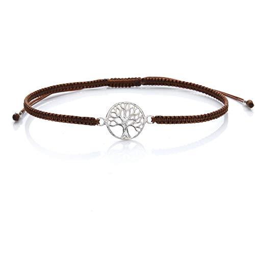 Armband Lebensbaum Silber 925 Tree of Life Baum des Lebens Yoga Fairtrade Farbe Braun