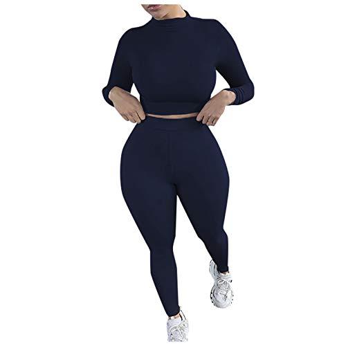 Lenfeshing Conjunto de Ropa de Deporte para Mujer Color Sólido Cuello Alto Slim Yoga Fitness Pantalones de Manga Larga Fajas para Fitness Jogging Yoga