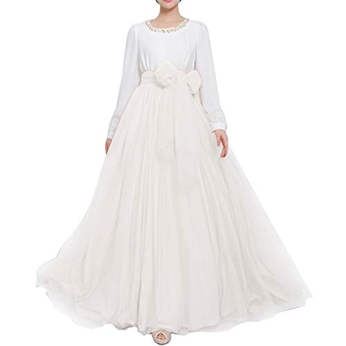 Women Wedding Long Maxi Puffy Tulle Skirt Floor Length A Line with Bowknot Belt High Waisted for Wedding Party Evening(Ivory,Small-Medium)