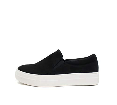 Soda Hike ~ Slip On Double Layer Foam Padded Cushion Sock Fashion Sneakers (8.5, Black)