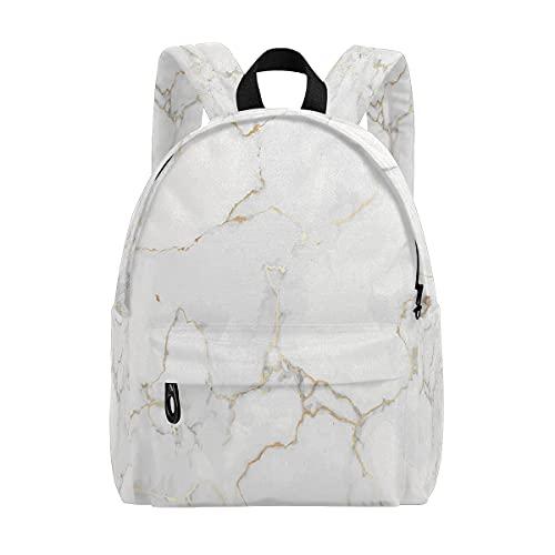 Bingyingne Mochila escolar de lujo con textura de mármol de oro blanco para niñas y niños, mochila básica informal duradera resistente al agua para estudiantes