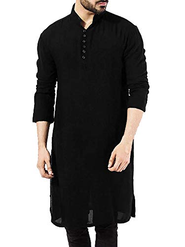 Herren Ethnisch Kaftan Langarm Henley Hemd Kurta Pyjama Indische Thobe Roben Arabish Shirts