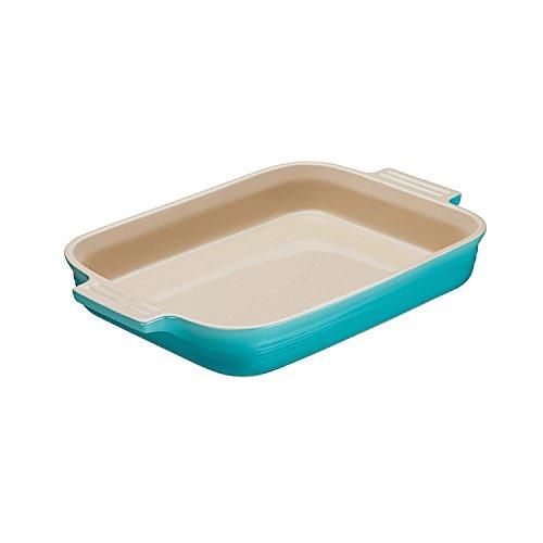 Le Creuset, Plat Rectangulaire en Céramique, 18 x 13 cm, Pour 2 Portions, Turquoise