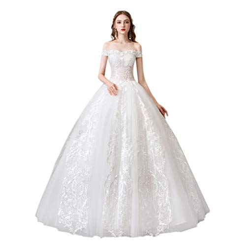 Women's Wedding Dresses Off Shoulder White Wedding Dresses for Women Bridal Dresses Backless Dresses with Embroideries for Wedding (16)