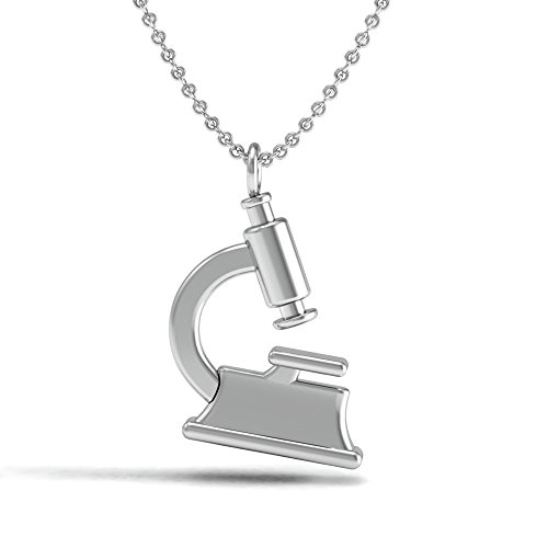 The Best .925 Sterling Silver Laboratory Microscope Necklace Pendant, The for Chemist, Science or Chemistry Teacher Student. Includes Free Polishing Cloth.