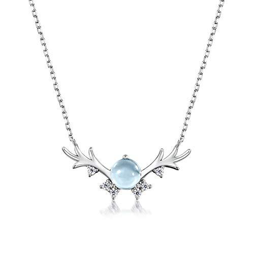 AMY-XCQ Collar S925 Plata Pequeño Fresco Azul Cielo Topacio Fawn Mujer Fawn Modelo Joyería