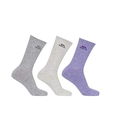 Trespass Damen Socken Stopford, gepolstert, 3er-Packung (39-42 EU) (Hellgrau/Rauch/Violett meliert)