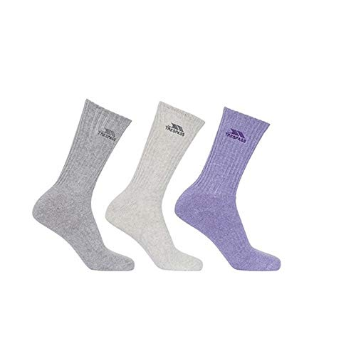 Trespass Damen Socken Stopford, gepolstert, 3er-Packung (36-39 EU) (Hellgrau/Rauch/Violett meliert)