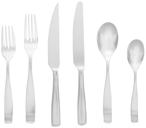Mikasa Satin Loft 75-Piece 18/10 Stainless Steel Flatware Set with Serving Utensil Set, Service for 12