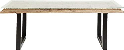 Kare Tisch Kalif, Esstisch mit Echtholzplatte, handgeschnitzte Oberfläche,Glas, (HxBxT) 78x200x90 cm