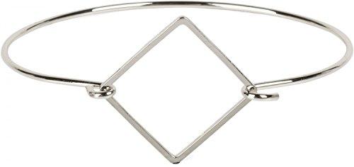 styleBREAKER Armreif aus Edelstahl mit Quadrat am Hakenverschluss, Armspange, Schmuck, Damen 05040089, Farbe:Silber