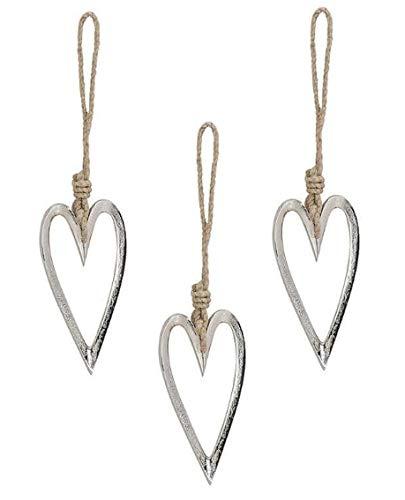 Marzoon 3 colgantes de corazón de metal, cada uno de aprox. 12 x 6 cm, forma abierta con cinta de yute para habitaciones, ventanas o decoración de mesa.