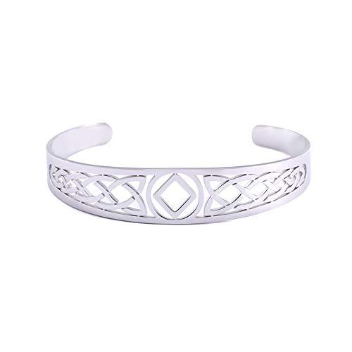 LIKGREAT Pulsera de 24 runas nórdicas vikingas de acero inoxidable, diseño hueco, brazalete religioso, amuleto mágico para hombres y mujeres (22 ingwaz)
