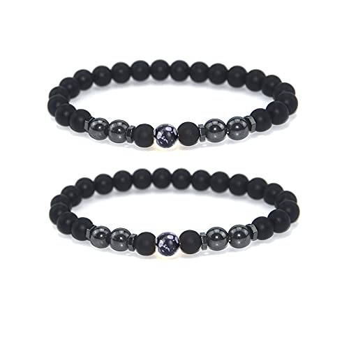 INENIMARTJ 2Pcs Anti-Swelling Black Obsidian Anklet Magnetic Therapy Ankle Bracelet for Women Men,Anti-Anxiety Yoga Beads Bracelet (C:seed)