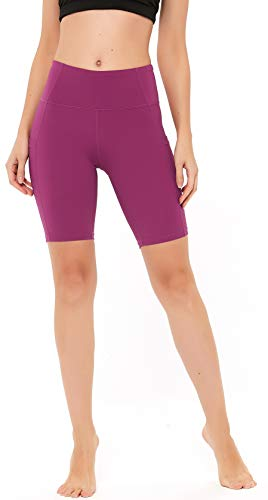 """N-A Women's Running Shorts High Waist Yoga Workout Compression Exercise Shorts Side Pockets 8"""" L Coral"""
