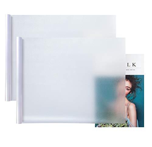 2 pièces 45 x 200 cm Film Fenêtre Anti Regard Anti UV , Film Occultant Vitre , Opaque Vitre Électrostatique Film Dépoli de Fenêtre pour Bureau Maison de Bain Chambre Cuisine