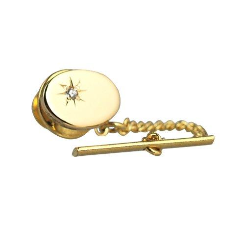 British Jewellery Workshops Plaqué Or Dur 12x8mm Ensemble Etoiles Ovale CZ épingle à Cravate