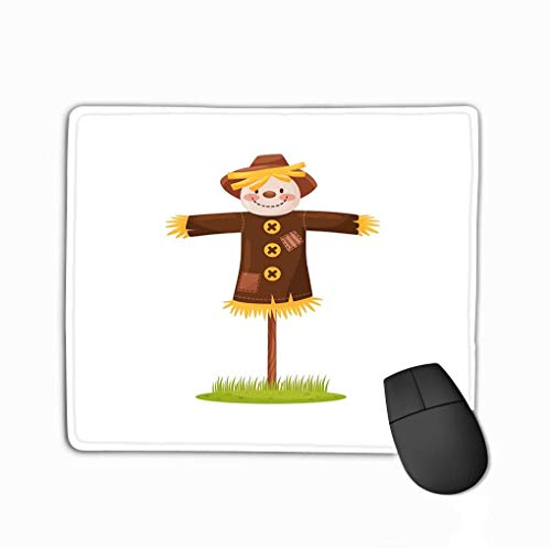Mousepad Custom Design Gaming Mouse Pad Rubber Oblong Mouse Mat 11.81 X 9.84 Inch Funny Scarecrow Made Straw Smiling Face Dressed Brown Hat Human Figure Scare Birds Field Flat