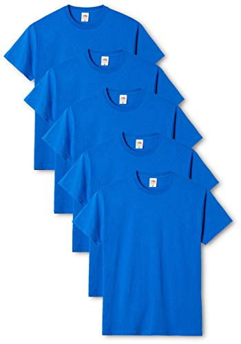 Fruit of the Loom Mens Original 5 Pack T-Shirt Camiseta, Azu