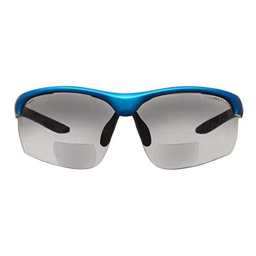 voltX \'Constructor Ultimate\' Bifokale Schutzbrille mit Lesehilfe (Blauer Rahmen, rauchglasfarbene Gläser +2,5 Dioptrien) CE EN166FT-zertifiziert – Bifokale Rad-/Sportbrille Premium – UV400 Linse