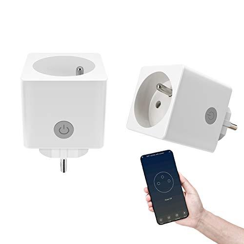 HTbrightly Smart Plug Enchufe Wi-Fi, Protección contra sobretensiones, Enchufe inteligente Compatible con Google Home Inalámbrico Control remoto Temporizador Interruptor de enchufe, 13A 2Pcs