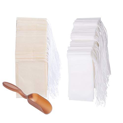 400 Stück Teebeutel Teefilter Einweg Weiß Braun Selbstbefüllbar Filterbeutel mit verschließbarem Bändchen für Tee Obsttee Teeblumen Gewürz Kräuterpulver (6 x 8 cm)