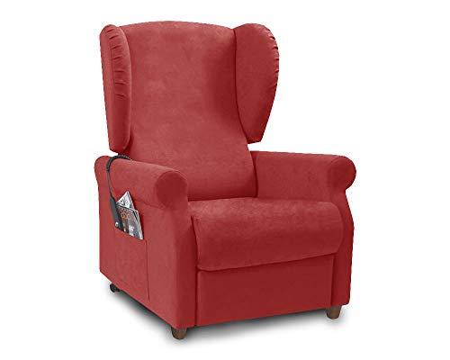 Orthomatic® - Poltrona Relax Modello Elisabetta Motorizzata, Tessuto Microfibra. Poltrona per Anziani Iva 4% (Rosso, 2 Motori Elevabile)