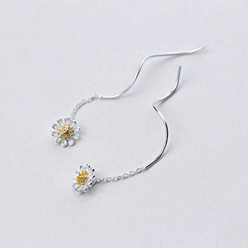 ACZZ S925 Silver Flower Ear Wire Mujeres Lsquo; S Han Xiaoqing Silver Plated Small Daisy Earrings Temperament Wave Earrings, S925 Silver Pair, 925 Silver