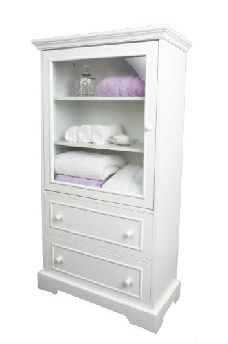 White Wood Linen Cabinet With Glazed Door And Two Drawers