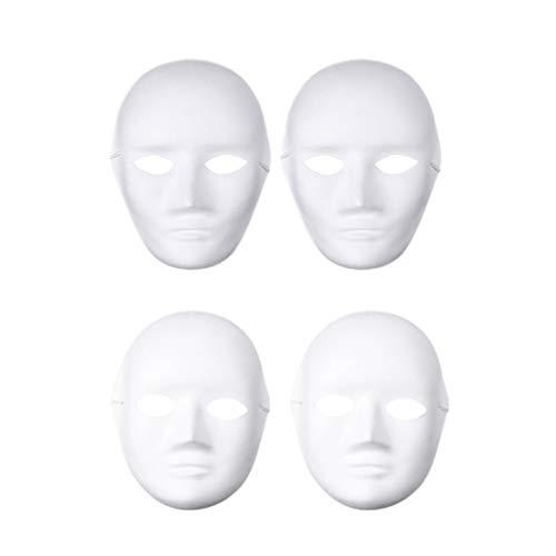 Amosfun 4pcs DIY weiße Maske zum Bemalen einfach Blanko Papier Maske für Halloween Cosplay Tanzparty (2 weiblich 2 männlich)
