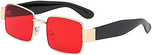 Gafas de sol Steampunk para mujer y hombre, estilo retro, de metal, para hombre Hip Hop negro y rojo, C2,