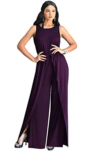 KOH KOH Womens Sleeveless Cocktail Wide Leg Casual Cute Long Pants One Piece Jumpsuit Jumpsuits Pant Suit Suits Romper Rompers Playsuit Playsuits, Purple L 12-14