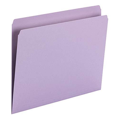 Smead File Folder, Straight-Cut Tab, Letter Size, Lavender, 100 per Box (10940)