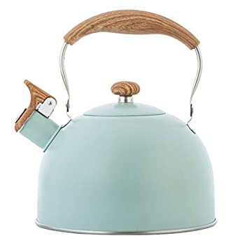 Cabilock Whistling Tea Kettle 2 5L Stainless Steel Stovetop Teapot with Wooden Handle Kitchen Coffee Kettle Metal Water Pot for Office Home