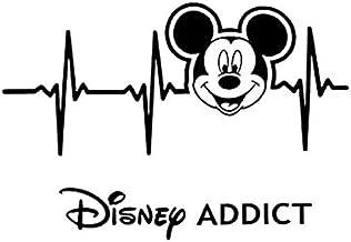 Disney Addict Heartbeat Mickey Face NOK Decal Vinyl Sticker |Cars Trucks Vans Walls Laptop|Black|5.5 x 4.0 in|NOK521