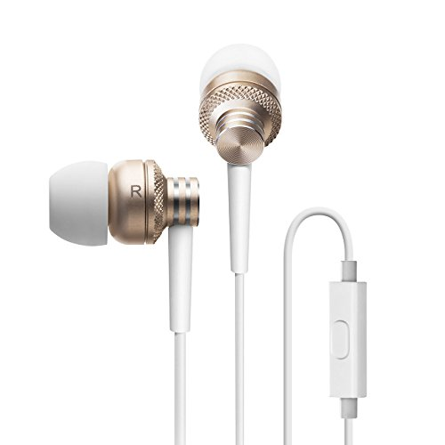 Edifier P270 Auriculares In-Ear de Botón Metálico con Micrófono y Control Remoto - Se Incluyen Almohadillas Pequeñas, Medianas y Grandes - Dorado