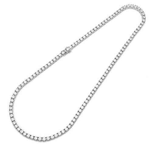 C-YG Vergoldete Kette für Damen & Herren Runde Halskette aus Zirkonia-Box Tennis-Halskette Valentinstag,silver20'',3mm