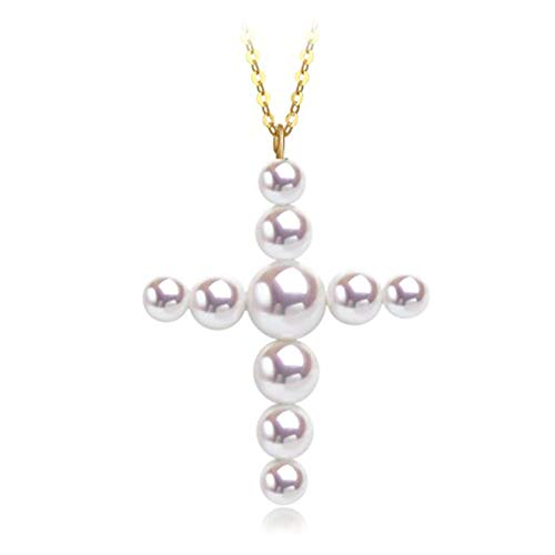 Collar con colgante de perlas con cruz de oro de 18 k para mujer, gargantilla de declaración, joyería de confirmación, regalos para ella