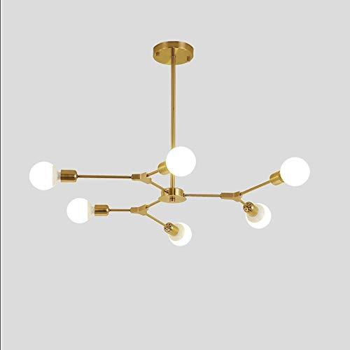 Sunny Lingt Moderno 9- Luz de Techo Luz de araña Multi-Ajustable Iluminación Golden Sputnik Isla de Cocina Iluminación de la lámpara Colgante E26 / E27 Molecular (Color: Oro) (Color : 6-Light)