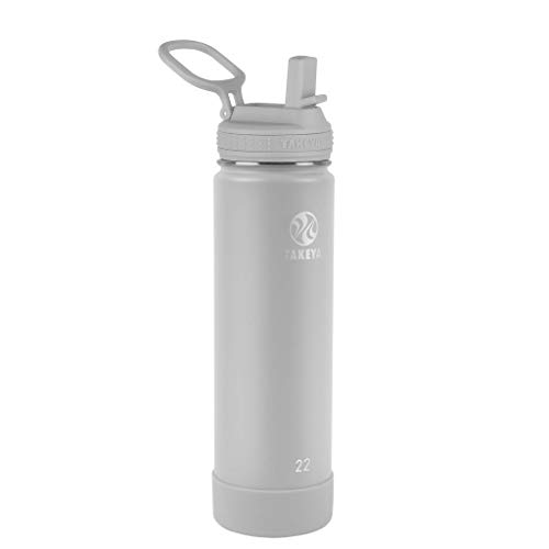 Takeya Actives Insulated Water Bottle w/Straw Lid, Pebble, 22 Ounces
