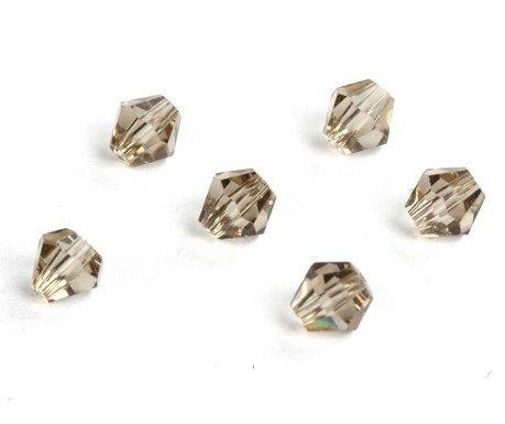 Lotto da 100 perline Trottola bicono in quarzo, CZ vetro cristallo di Boemia, colore: champagne/4 mm