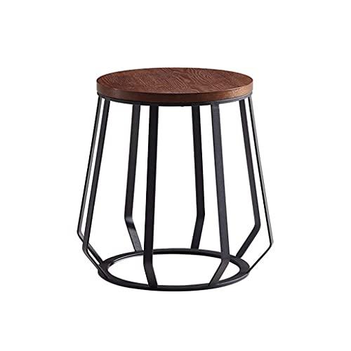 SaiFei Tavolino Vintage/tavolino da tè, Struttura del Tavolo in Ferro battuto, Progettato per Il Balcone della Camera da Letto, Rotondo, Marrone,