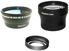 Wide + Tele Lens + Lens Hood with Adapter Ring Tube bundle for Fuji FujiFilm X10