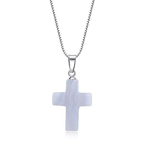 COAI Collar para Mujer de Plata con Colgante Cruz de Ágata Azul