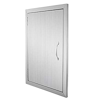 Happybuy BBQ Access Door Double Wall Construction 17W x 24H inch BBQ Island Outdoor Kitchen Access Doors 304 Grade Brushed Stainless Steel Heavy Duty