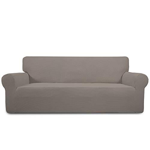 Greatime Stretch Sofabezug Sofaüberwurf Möbelschutz Sofaüberzug Couchbezug Couch Schild Sofahusse Weich mit Gummiband Schaumstreifen (3-Sitzer, Taupe)